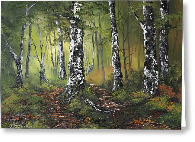 Jean Walker Greeting Cards - Silver Birch Forest Greeting Card by Jean Walker