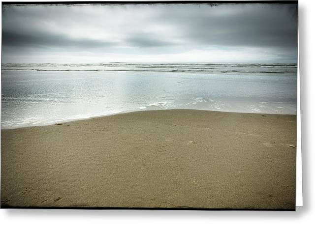 Ocean Art. Beach Decor Greeting Cards - Silver Blue Sea Greeting Card by Belinda Greb