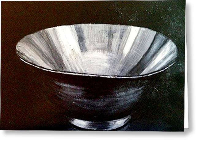 Valuable Greeting Cards - Silver Bowl Greeting Card by Deb Wolf