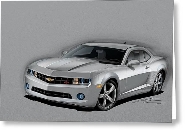 2012 Digital Art Greeting Cards - Silver Camaro Greeting Card by Etienne Carignan