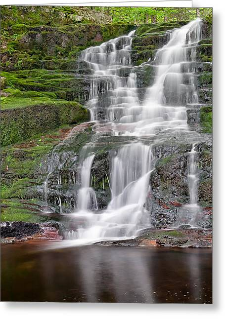 Falling Water Greeting Cards - Silver Cascade Greeting Card by Bill  Wakeley