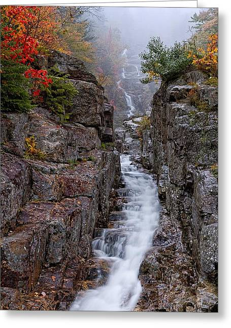Ledge Greeting Cards - Silver Cascade Crawford Notch NH Greeting Card by Jeff Sinon