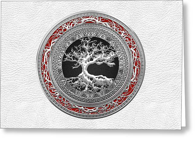 Yggdrasil Greeting Cards - Silver Celtic Tree of Life on White Leather Greeting Card by Serge Averbukh