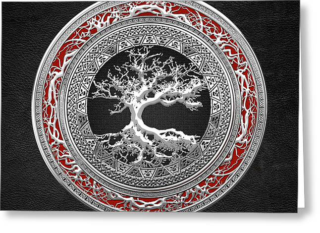 Yggdrasil Greeting Cards - Silver Celtic Tree of Life Greeting Card by Serge Averbukh