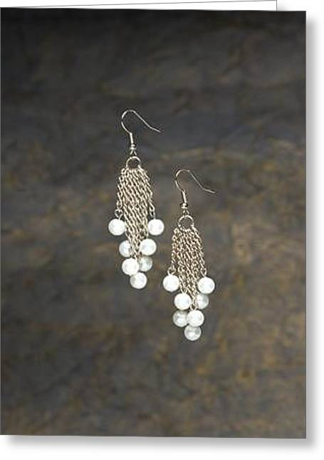Chandelier Earrings Greeting Cards - Silver Chain and Pearl Chandelier Earrings Greeting Card by Kimberly Johnson