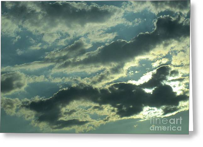 Grey Clouds Drawings Greeting Cards - Silver Clouds 2 Greeting Card by Tara  Shalton