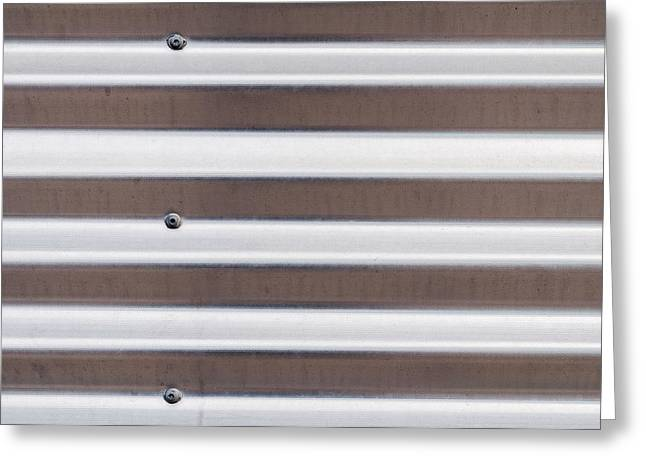 Metallic Sheets Greeting Cards - Silver Corrugated Sheet Metal Greeting Card by Chay Bewley