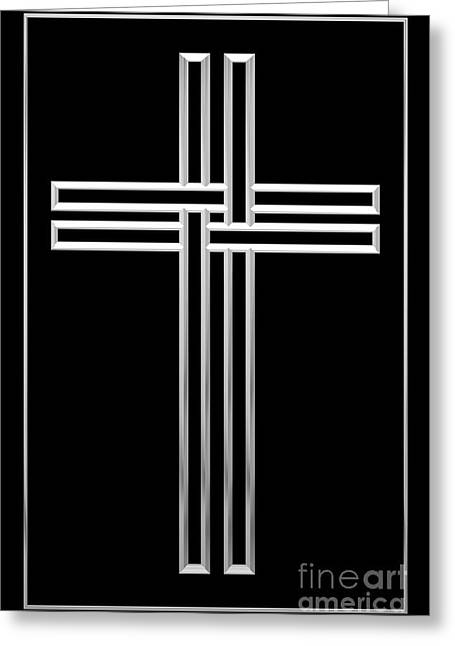 Jesus Crucifixion Framed Prints Greeting Cards - Silver Cross 1 Greeting Card by Rose Santuci-Sofranko