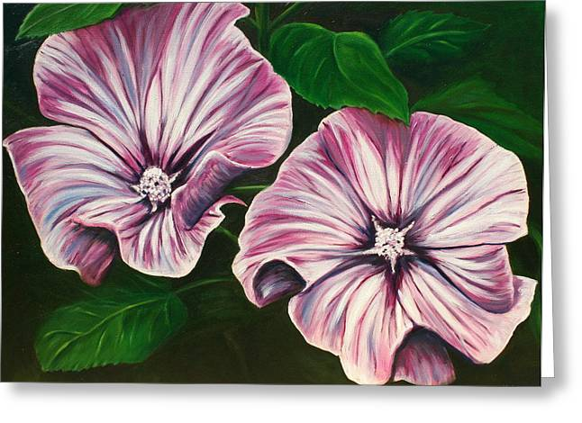 Lyndsey Hatchwell Greeting Cards - Silver Cup - Lavatera Greeting Card by Lyndsey Hatchwell