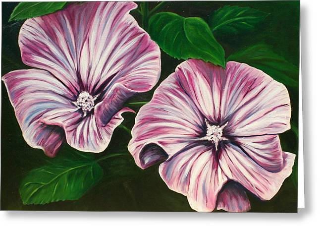 Silver Cup - Lavatera Greeting Card by Lyndsey Hatchwell