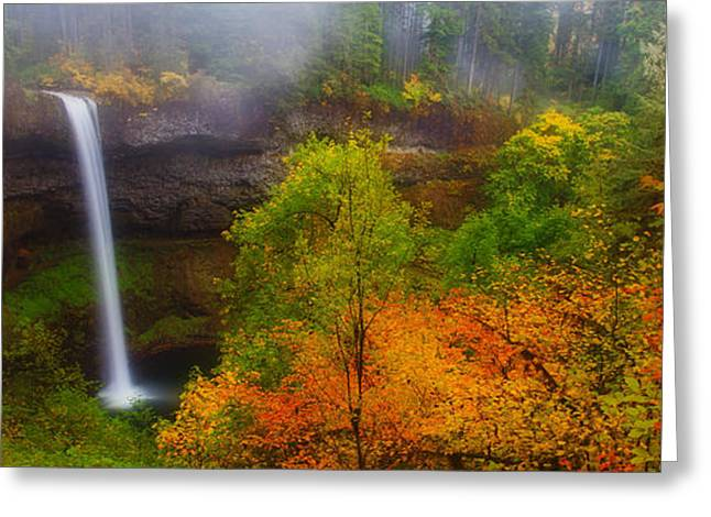Silver Falls Pano Greeting Card by Darren  White