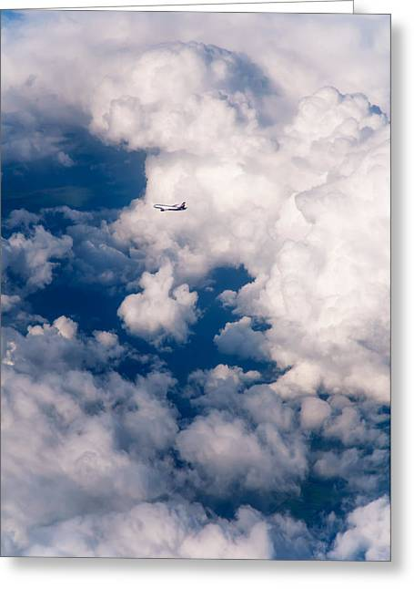 Cloud Formations. Cloud Photography Greeting Cards - Silver Flight through the Clouds Greeting Card by Jenny Rainbow