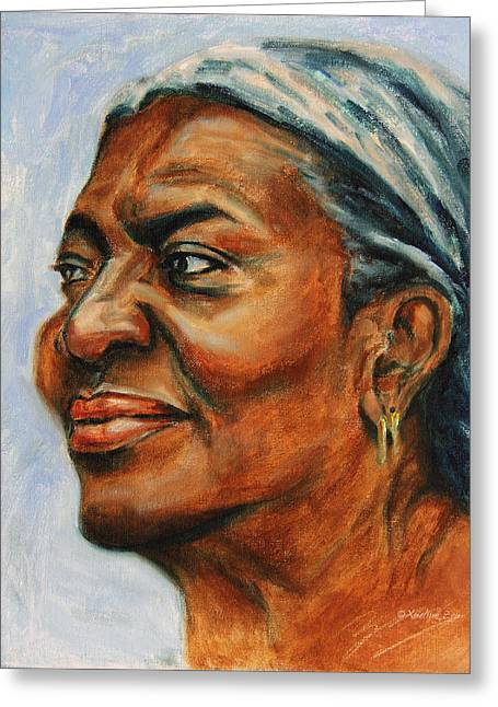 African-americans Greeting Cards - Silver Girl Greeting Card by Xueling Zou
