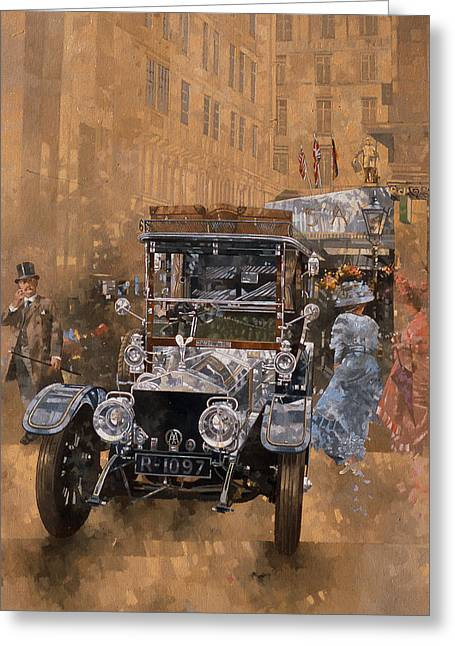 Motor Car Greeting Cards - Silver Grace At The Savoy, 1999 Oil On Canvas Greeting Card by Peter Miller