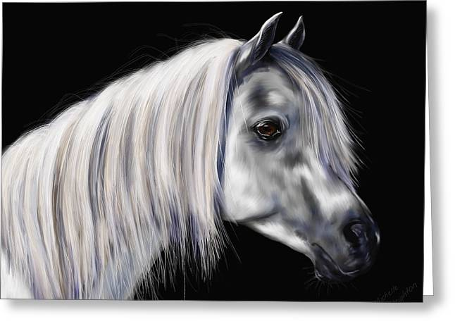 Pet Portrait Greeting Cards - Grey Arabian Mare Painting Greeting Card by Michelle Wrighton