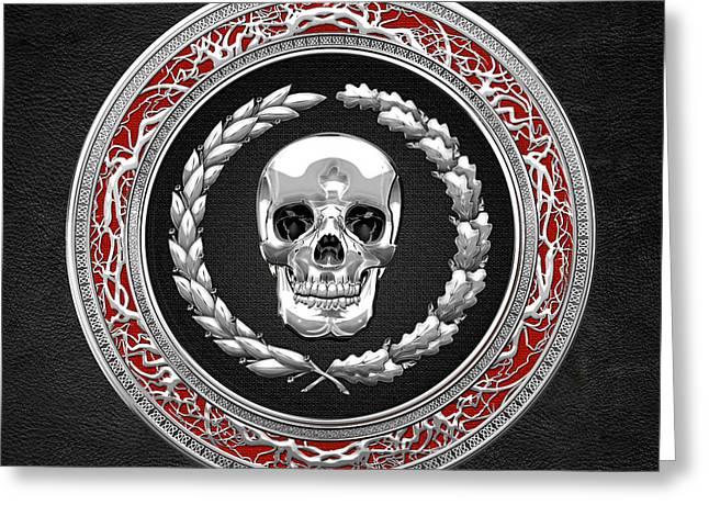Treasure Trove Greeting Cards - Silver Human Skull on Black   Greeting Card by Serge Averbukh