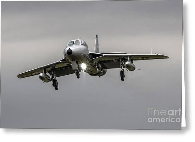 Aviation Display Greeting Cards - Silver Hunter Greeting Card by J Biggadike