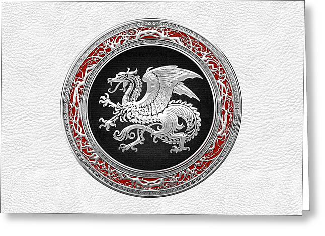 Treasure Trove Greeting Cards - Silver Icelandic Dragon on White Leather Greeting Card by Serge Averbukh