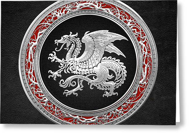 Silver Icelandic Dragon  Greeting Card by Serge Averbukh
