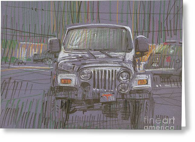 Silver Drawings Greeting Cards - Silver Jeep Greeting Card by Donald Maier