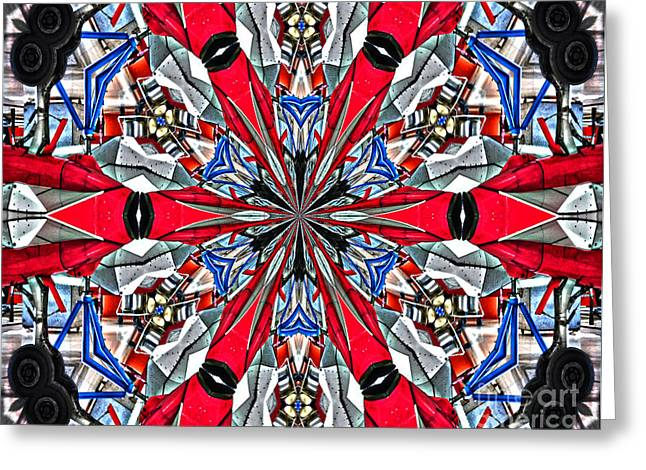 Repair Facility Greeting Cards - Silver Jet Kaleidoscope Greeting Card by Diane E Berry
