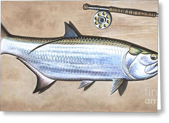 Tarpon Drawings Greeting Cards - Silver King Beach Greeting Card by Johnny Widmer
