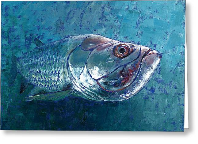 Catch And Release Greeting Cards - Silver King Tarpon Greeting Card by Pam Talley