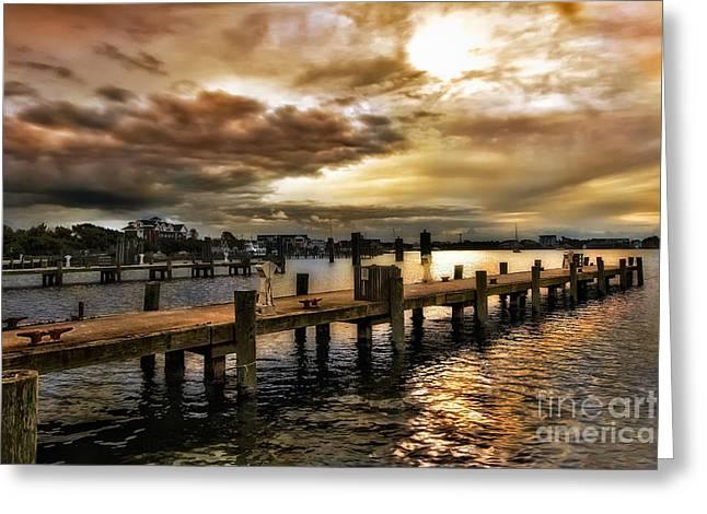 Pier Framed Prints Greeting Cards - Silver Lake Harbor Greeting Card by Dan Carmichael