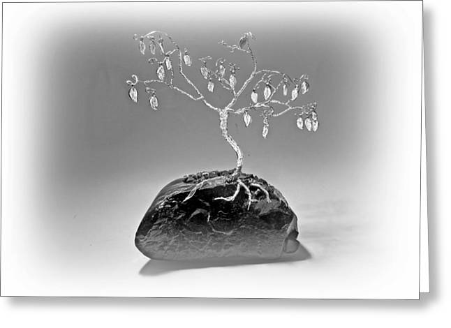Silver Sculptures Greeting Cards - Silver Leaf Legacy Greeting Card by Joyce  McCormick-Mabry