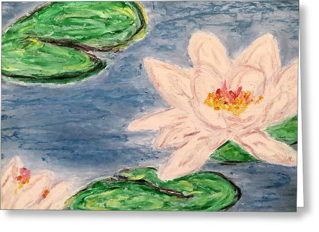 Water Lilly Pastels Greeting Cards - Silver lillies Greeting Card by Daniel Dubinsky
