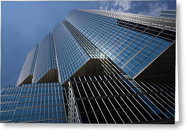 Glass Reflecting Greeting Cards - Silver Lines to the Sky - Downtown Toronto Skyscraper Greeting Card by Georgia Mizuleva