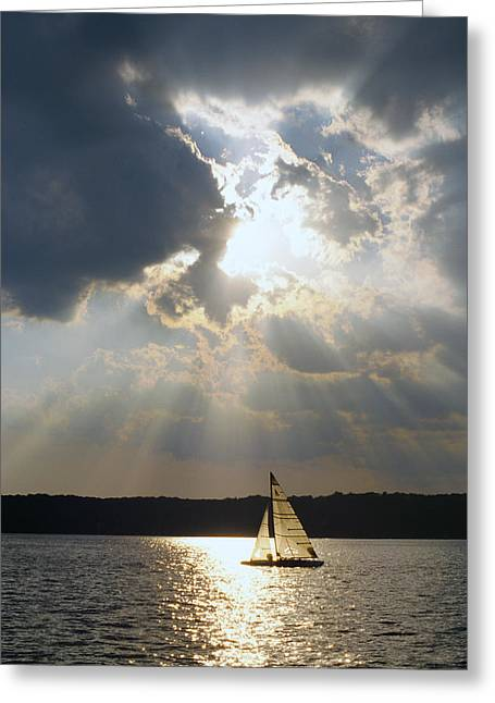 Silver Lining - Lake Geneva Wisconsin Greeting Card by Bruce Thompson