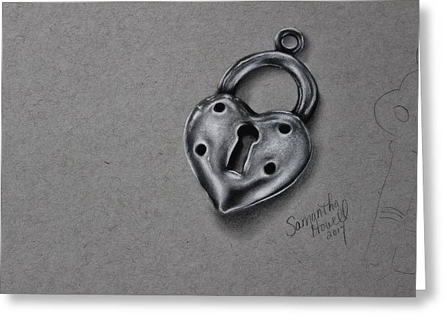 Photorealism Greeting Cards - Silver Lock Greeting Card by Samantha Howell