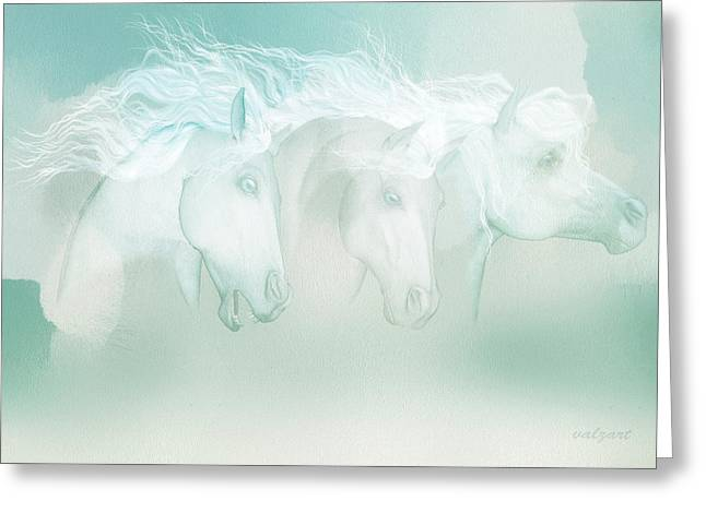 Kelly Mixed Media Greeting Cards - Silver manes Greeting Card by Valerie Anne Kelly
