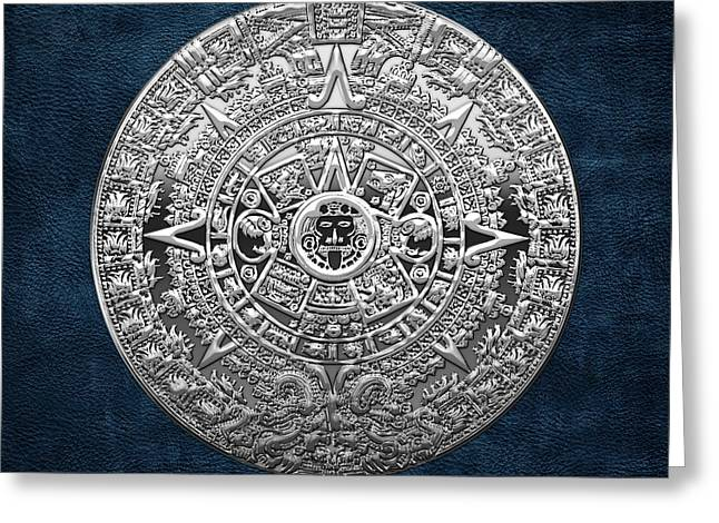 Mayan Mythology Greeting Cards - Silver Mayan-Aztec Calendar on Blue Greeting Card by Serge Averbukh