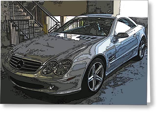 Sheats Greeting Cards - Silver Mercedes Benz SL500 Greeting Card by Samuel Sheats