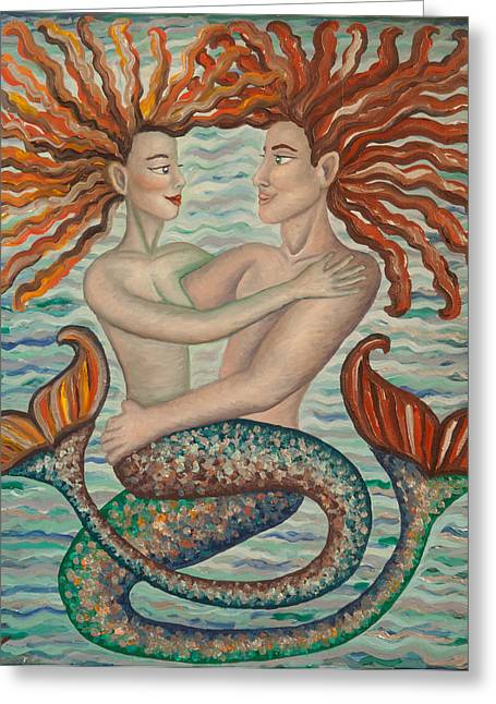 Mermaid Lovers Greeting Cards - Silver Merlove Greeting Card by Claudia Cox