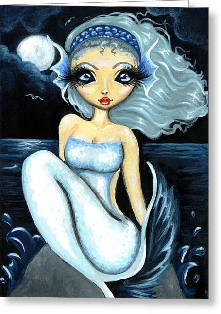 Mermaid Fantasy Art Greeting Cards - Silver Moon Greeting Card by Elaina  Wagner