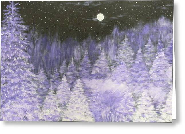 Snowy Evening Greeting Cards - Silver Night  Greeting Card by Irina Astley