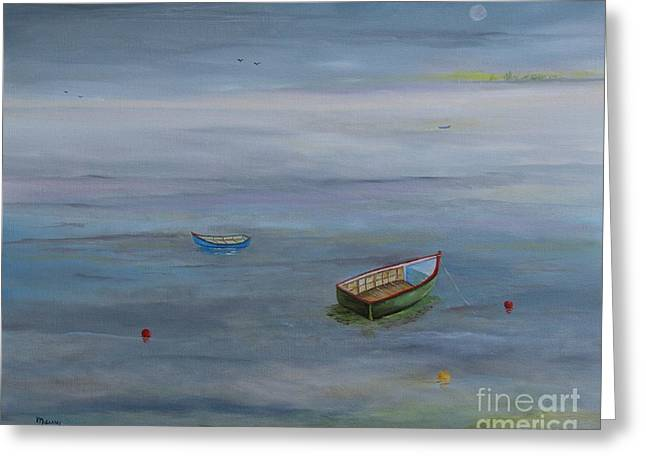 Puerto Rican Artist Greeting Cards - Silver Ocean Boats Greeting Card by Alicia Maury
