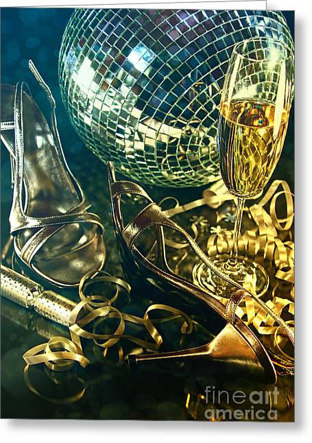 Champagne Glasses Greeting Cards - Silver party shoes on floor with champagne glass  Greeting Card by Sandra Cunningham