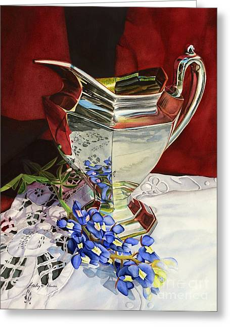 Pitcher Paintings Greeting Cards - Silver Pitcher and Bluebonnet Greeting Card by Hailey E Herrera