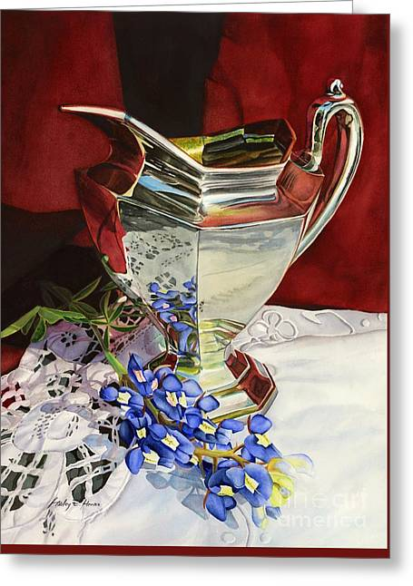 State Flowers Greeting Cards - Silver Pitcher and Bluebonnet Greeting Card by Hailey E Herrera