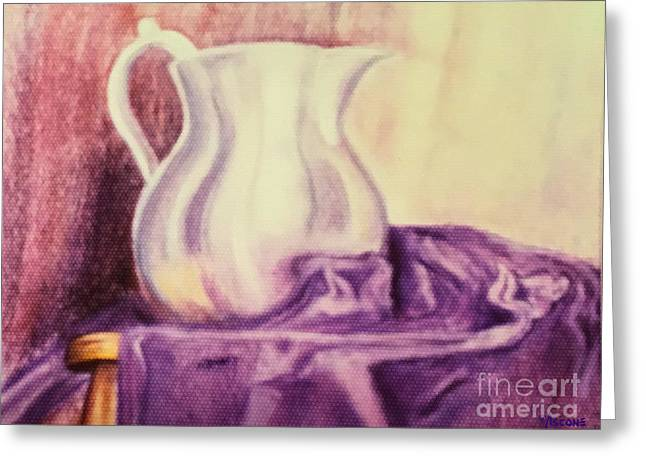 Uplifting Pastels Greeting Cards - Silver Pitcher Greeting Card by Teresa Ascone