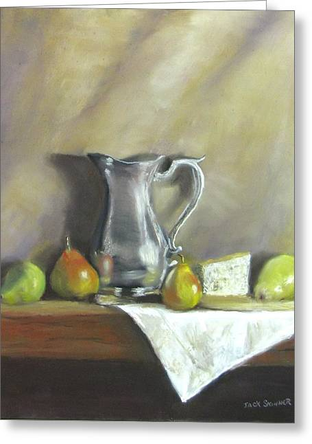 Jack Skinner Greeting Cards - Silver Pitcher With Pears Greeting Card by Jack Skinner