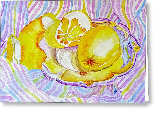 Elena Mahoney Greeting Cards - Silver plate with lemons Greeting Card by Elena Mahoney