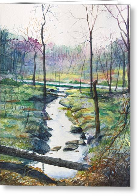 Early Spring Paintings Greeting Cards - Silver Ribbon Stream Greeting Card by Patricia Allingham Carlson