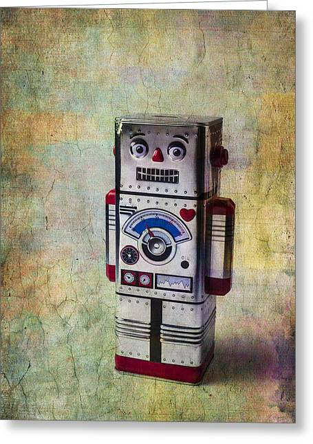 Robotic Life Greeting Cards - Silver Robot Greeting Card by Garry Gay