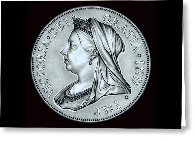 Silver Coins Greeting Cards - Silver Royal Queen Victoria Greeting Card by Fred Larucci