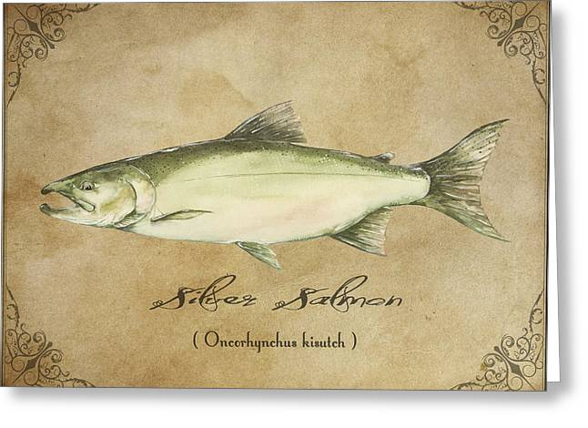 Salmon Paintings Greeting Cards - Silver Salmon Greeting Card by Joel DeJong